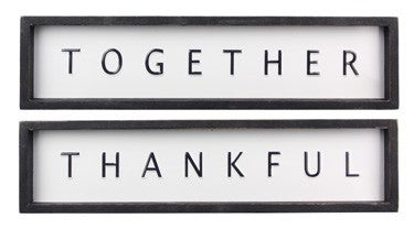 WOOD FRAMED PUNCHED TIN WALL/TABLE SIGN , 2 ASSORTED