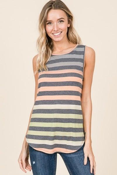 Multi Color Stripe Sleeveless Top