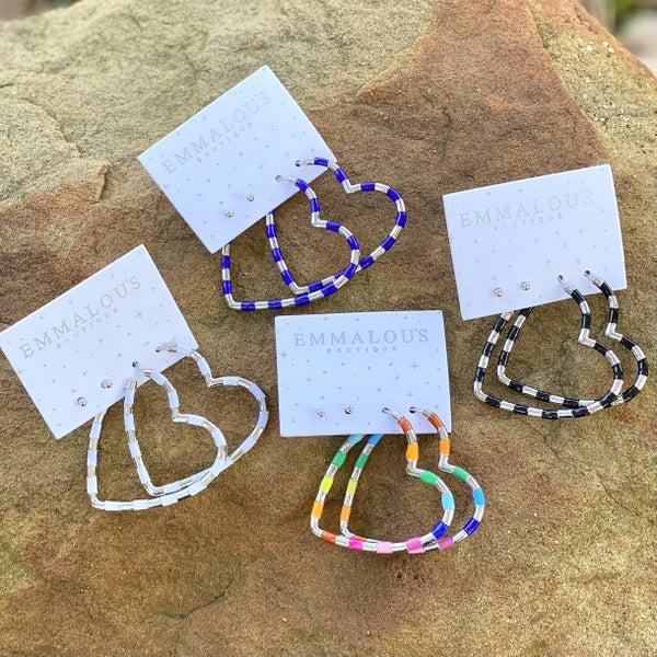 ::Valentine :: ARUBA Heart Earrings Enamel Plated Sterling Silver
