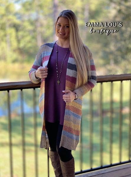 Color Block Longline Sweater Cardigan