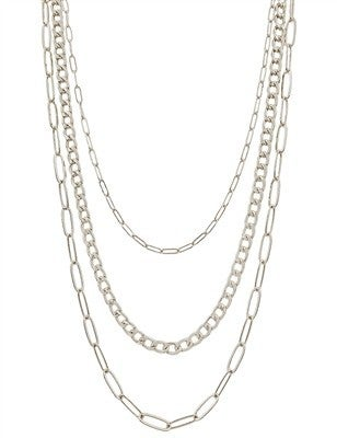 "Multi Triple Layered Silver Chain 18"" - 20"" Necklace"