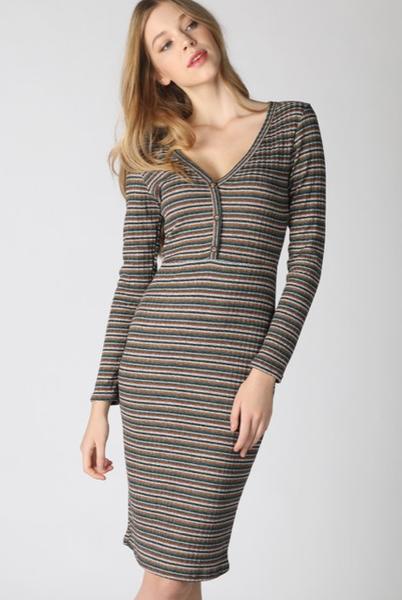 Deep V Neck Midi Dress