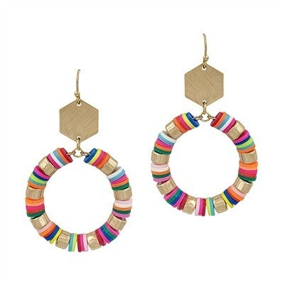 """Multi Rubber and Gold Hexagon 2"""" Earring"""