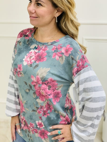 honeyme Long Sleeve Top with Floral and Stripe Contrast