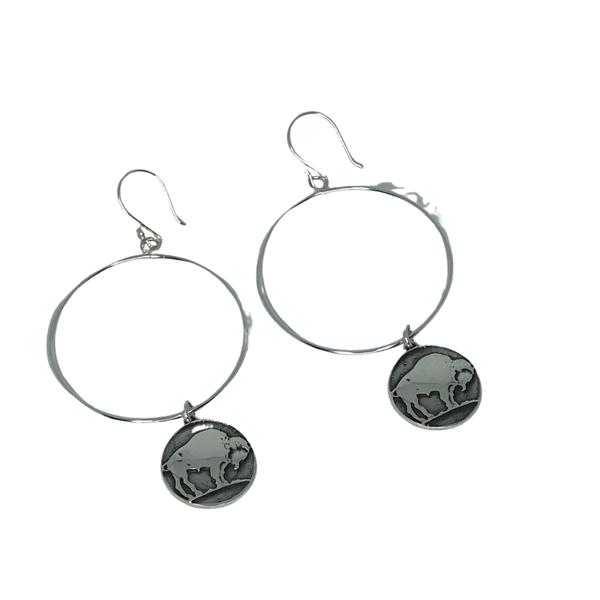 Sterling Silver Buffalo Coin Earrings
