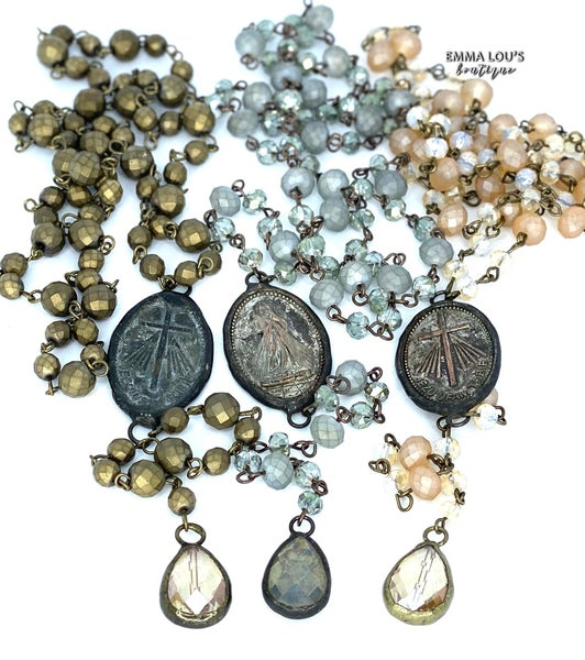 "Melania Clara ""Riley"" Long Beaded Necklace with Cross Pendant"