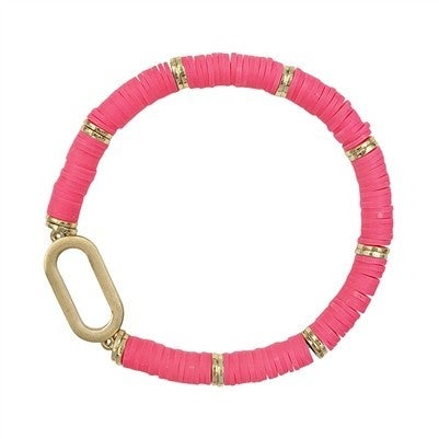 Rubber with Gold Accent Stretch Bracelet