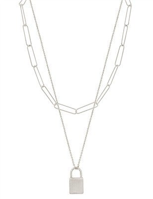 """Matte Chain with Locket Charm Layered 16""""-18"""" Necklace"""