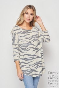 honeyme 3/4 Length Sleeve Top with Rounded Hemline