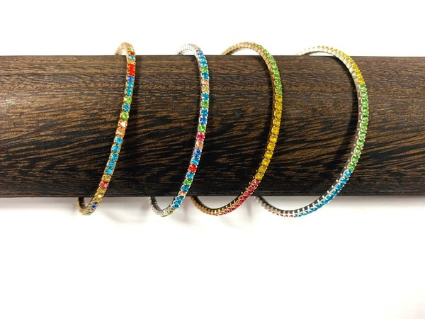 :: JEWELRY :: Cuff Bracelet with Multi-Colored Gems