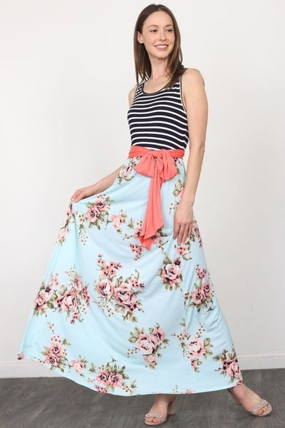Stripe Floral Sash Maxi Dress