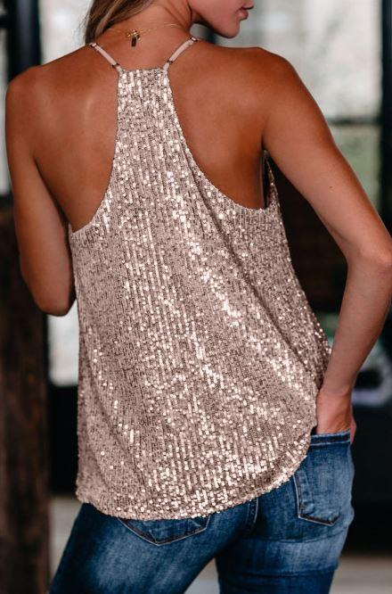 F31 15 Stitches Pink Sequin Tank Top