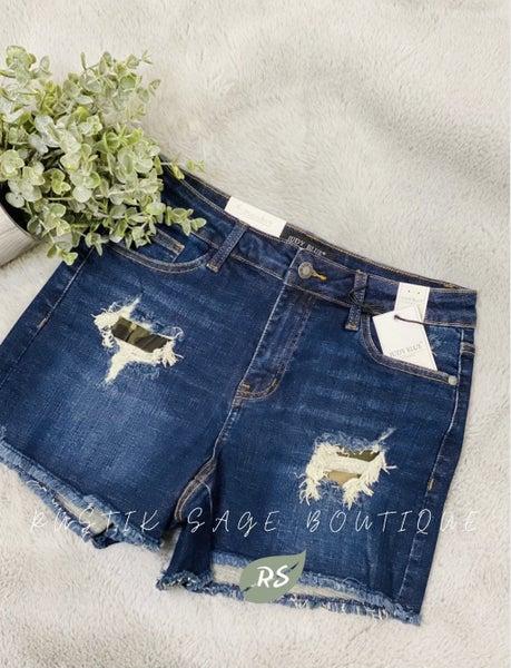 M45 Judy Blue Camo Patch Shorts