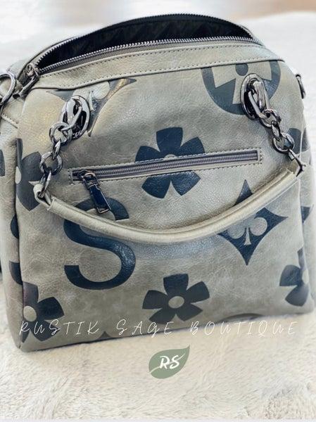 F52 Keep It Gypsy LV Inspired Grey Handbag Purse