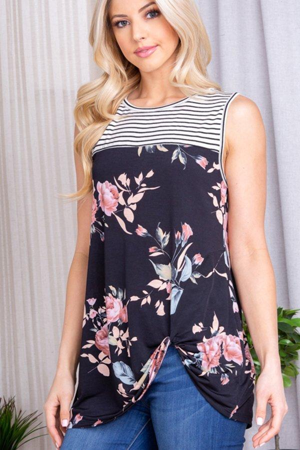 MA05 Floral and Stripe Summer Tank Top