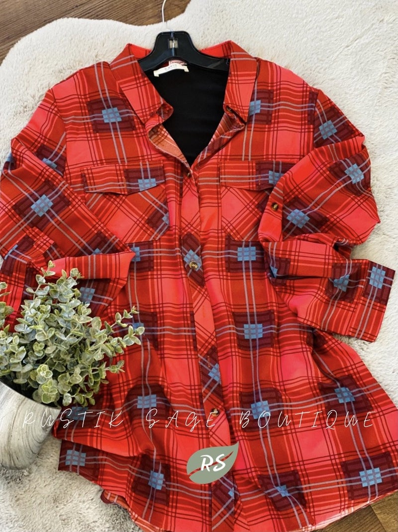 F43 15 Stitches The Raven Plaid Button Up Top