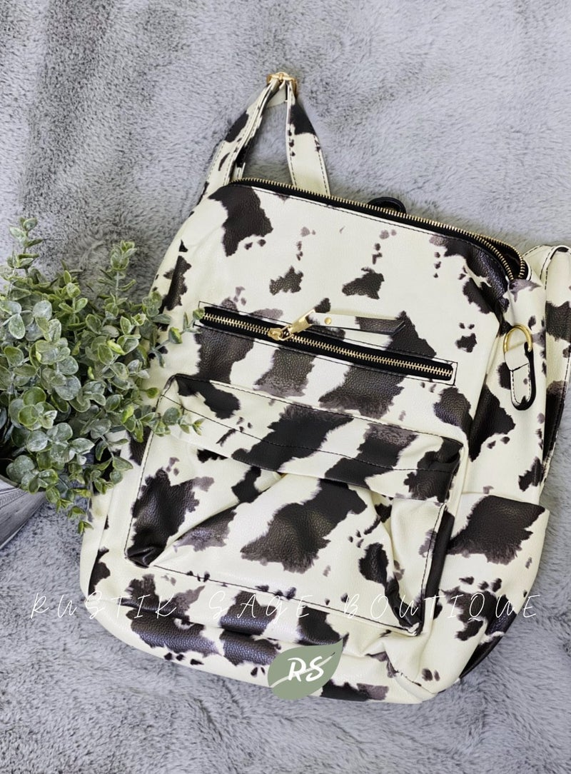 M47 Cow Print Vegan Faux Leather Backpack Purse