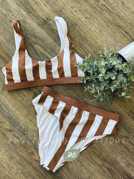 J65 The Mocha Stripe Bikini Swim Suit