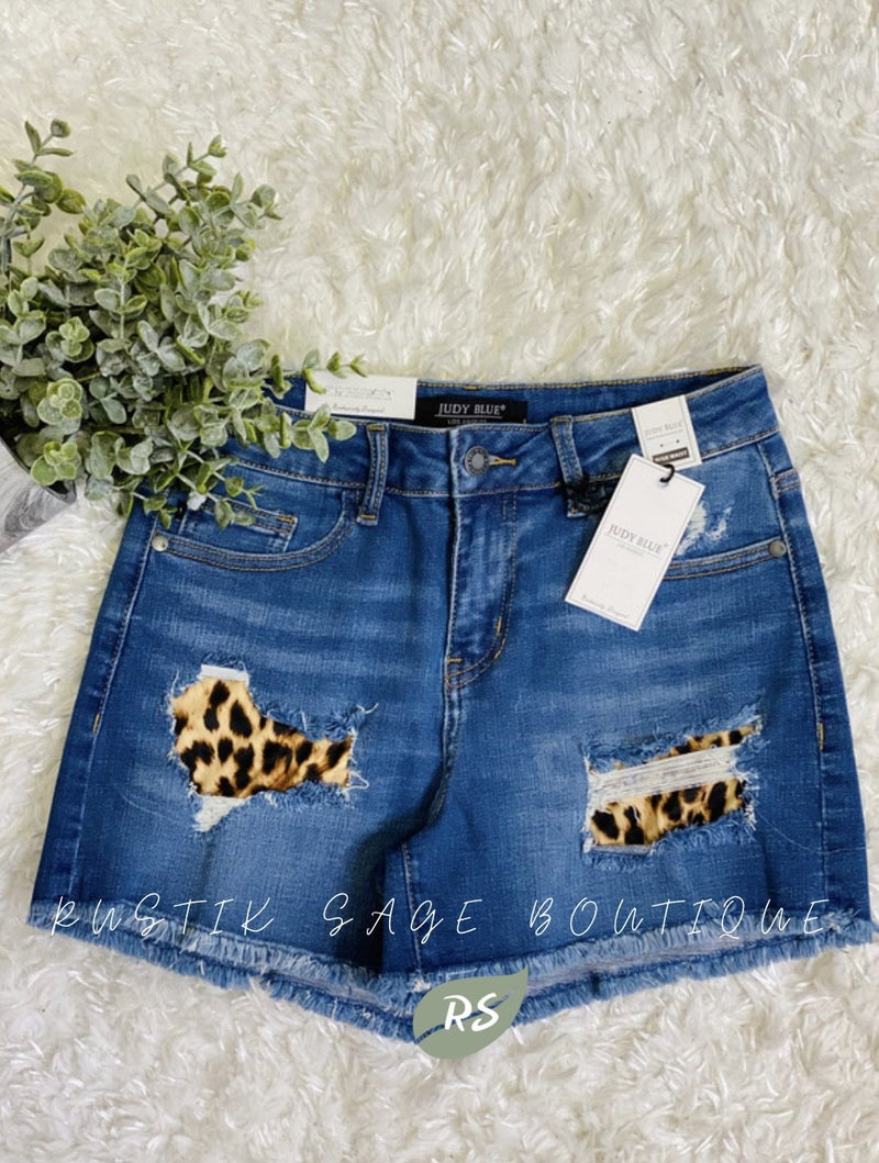 AP20 Judy Blue Leopard Patch Shorts