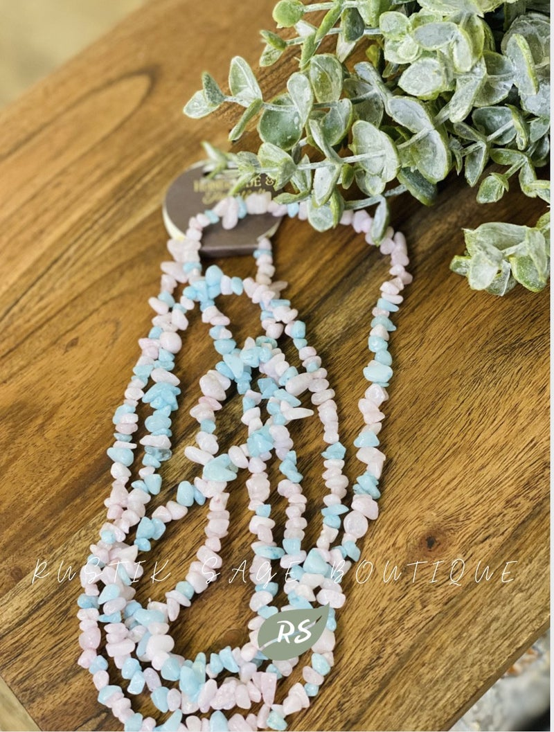 M80 Pink & Blue Oedemic Stone Necklace