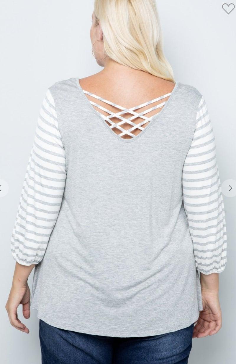 11004 Maisoli Strappy Back Gray Sweater