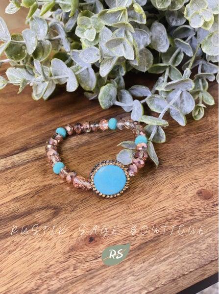 M92 Rose Gold & Turquoise Bracelet