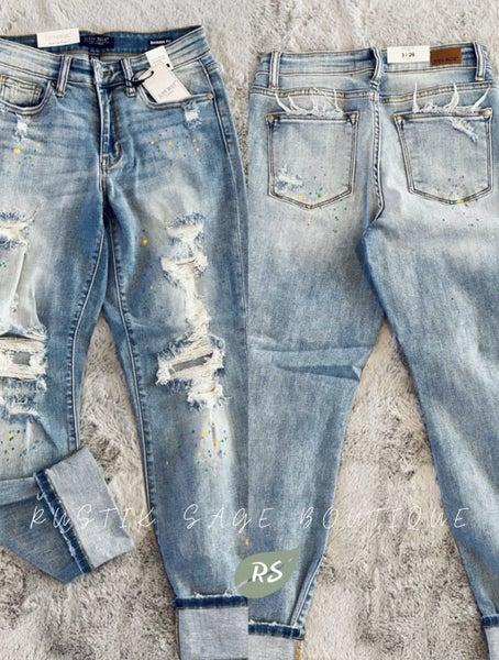 M12 Judy Blue *LIMITED EDITION* Rainbow Paint Splash Boyfriend Jeans