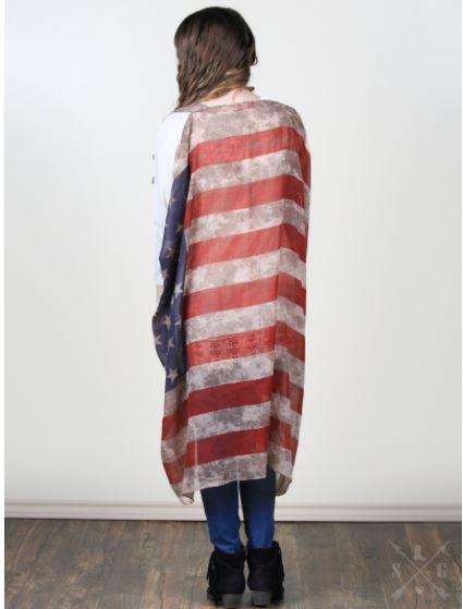 MA016 Vintage Stars & Stripes Kimono Vest