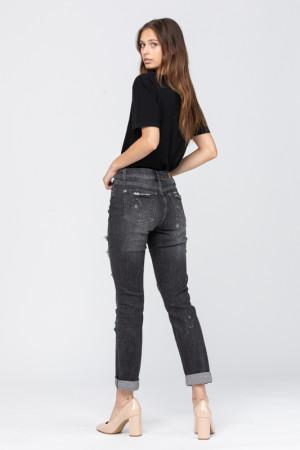 1105 Judy Blue Black Bleach Splash Boyfriend Jeans