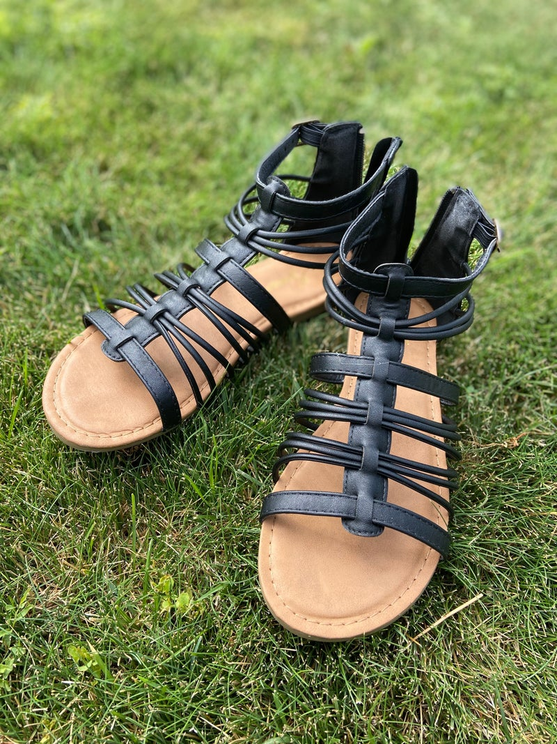 711 Black Gladiator Sandals