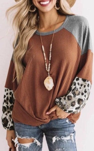 907 Rust Leopard Sleeve Sweater