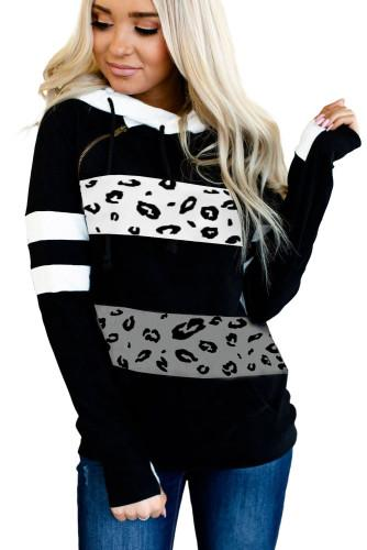 11016 Miss Sparkling Leopard Patch Hoodie with Thumbholes