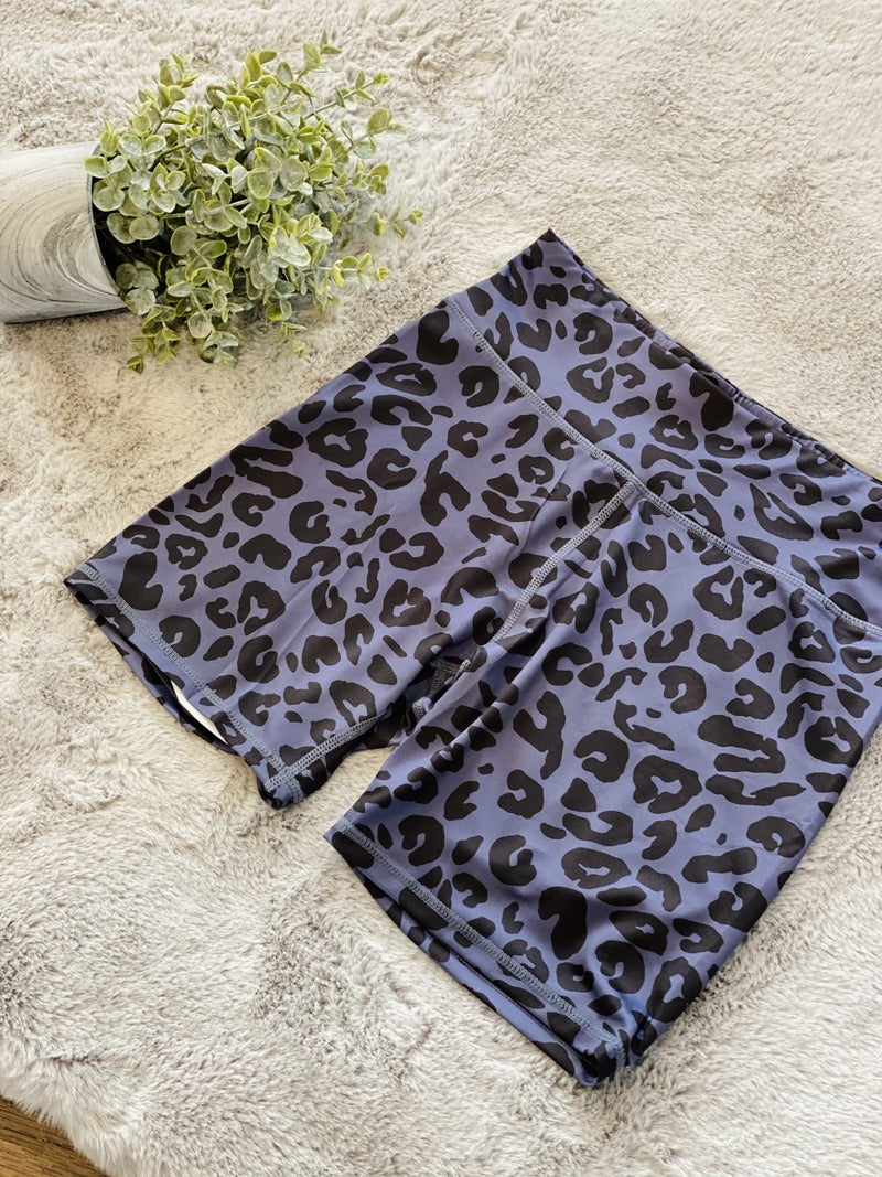 835 Animal Side High Rise Leopard Shorts