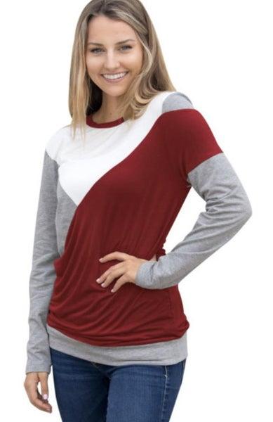 875 Shoulder Slope Trio Color Sweatshirt