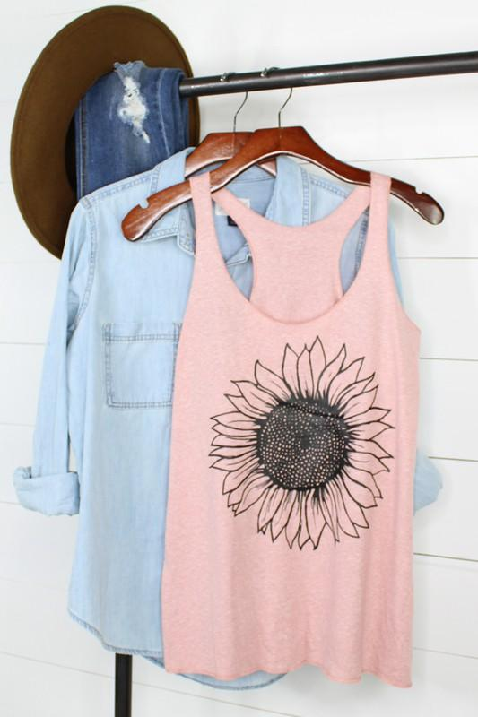 M40 Vintage Lilac Sunflower Tank Top