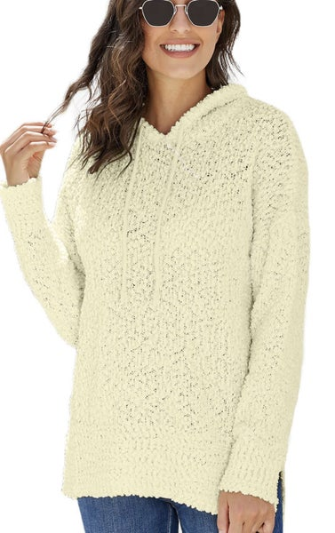 735 White Wrap in Love Knit Hoodie