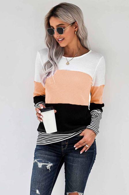 F40 15 Stitches Your Apricot Stripes Top