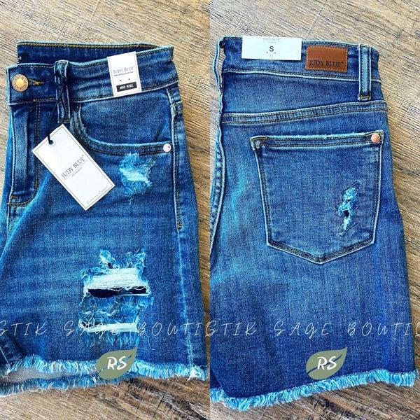 J46 Judy Blue Denim Patch Shorts
