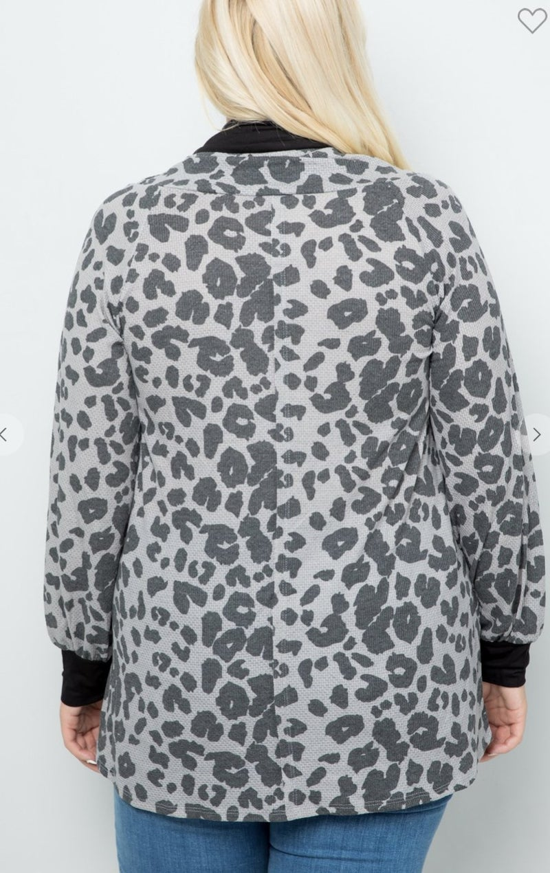 11002 Maisoli Leopard Cowl Neck Top