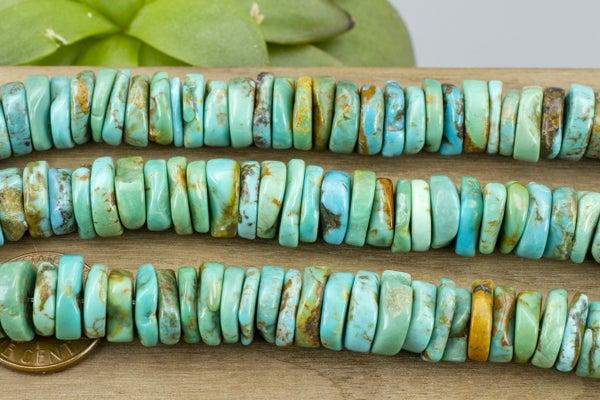 Natural Turquoise Irregular Heishi, ~11x3mm
