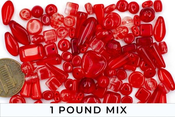 Premium Czech Glass Bead Mix, Light Red