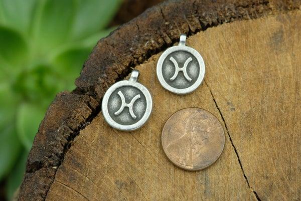 Zodiac Charm, Pisces, Antiqued Fine Silver Plate