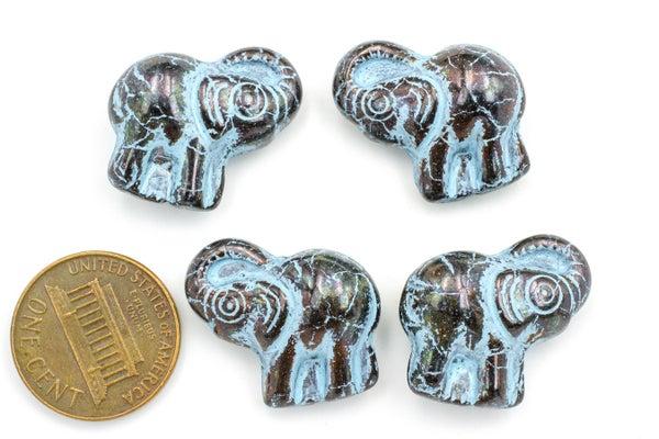 Czech Glass Elephant, Black w/ Blue Wash, 20x21mm