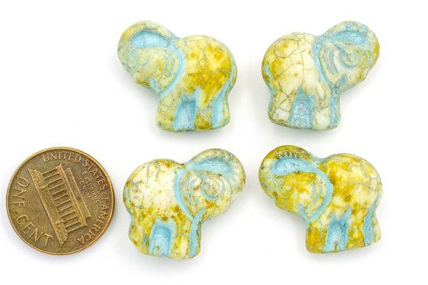 Czech Glass Elephants, Blue Wash Picasso, 20x21mm