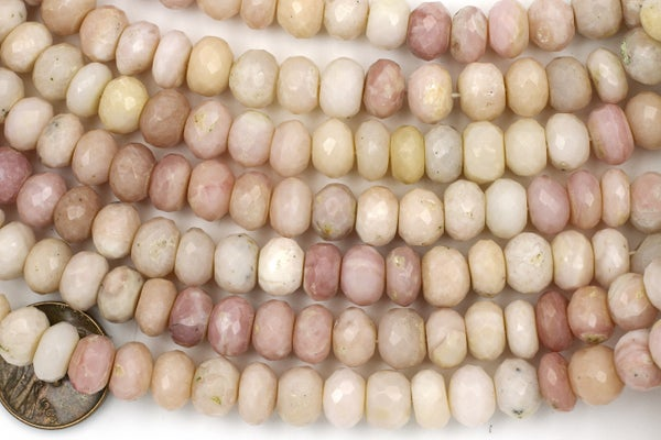 Indian-Cut Faceted Pink Opal Rondelle, ~9x6mm