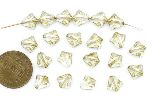 Czech Glass Lily, Clear/Gold, 8.5mm