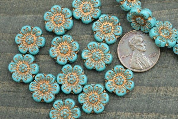 Czech Glass Camellia, Turquoise Copper, 13mm