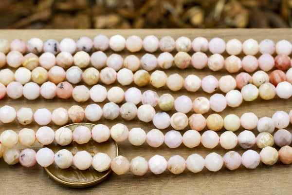 Pink Opal Faceted Round, 4.5mm