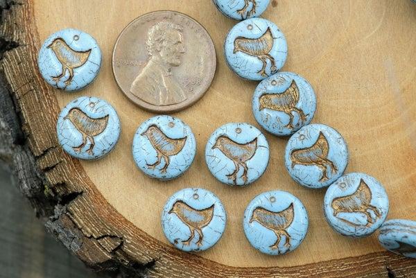 Czech Glass Bird Coin, Pale Blue Bronze Wash, 12mm