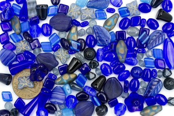 Premium Czech Glass Bead Mix, Dark Blue